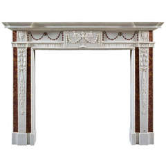 Antique Irish Georgian III White Marble Fireplace Mantel