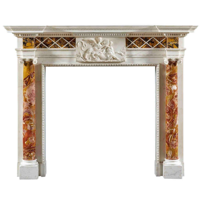 Antique George III Fireplace Mantle in Sienna, Jasper and Statuary Marble