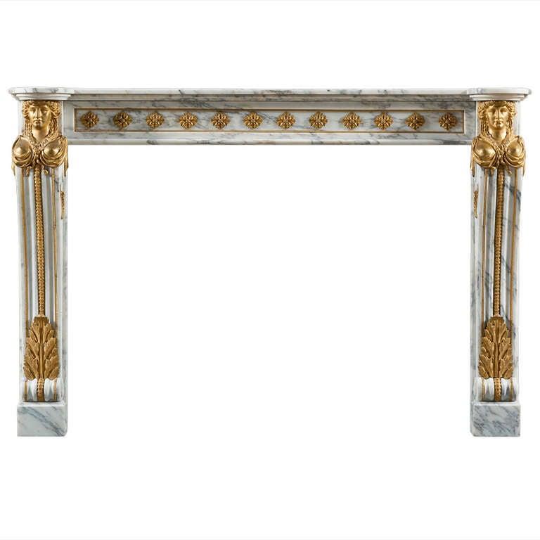 Antique 19th Century, Louis XVI Style Fireplace Mantel