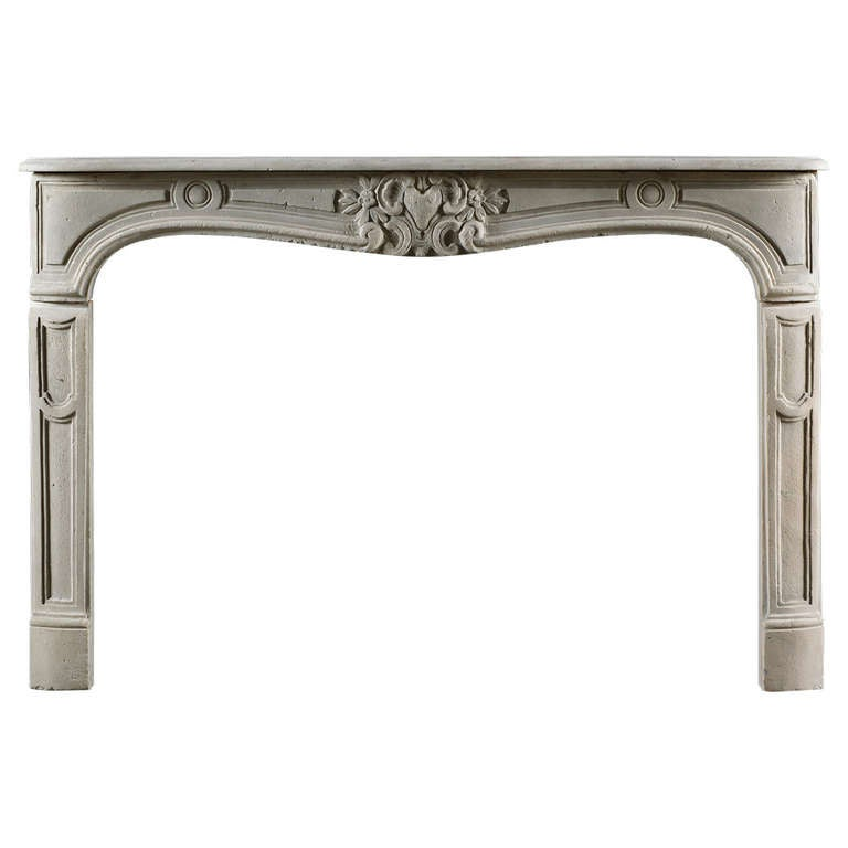 Antique Louis XV Style Limestone Fireplace Mantel For Sale