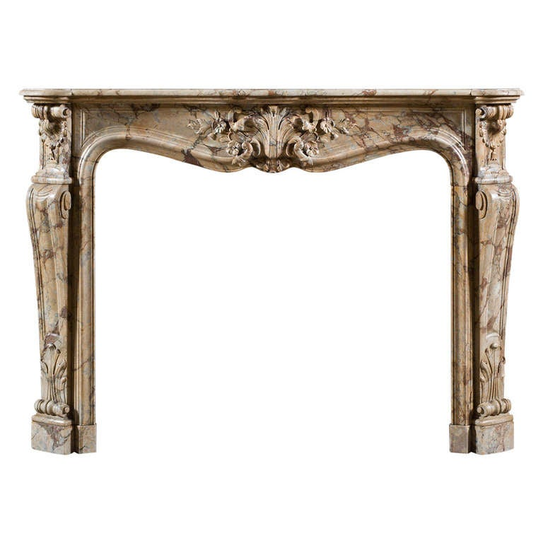 antique louis xv style fireplace mantel executed in breccia pernice