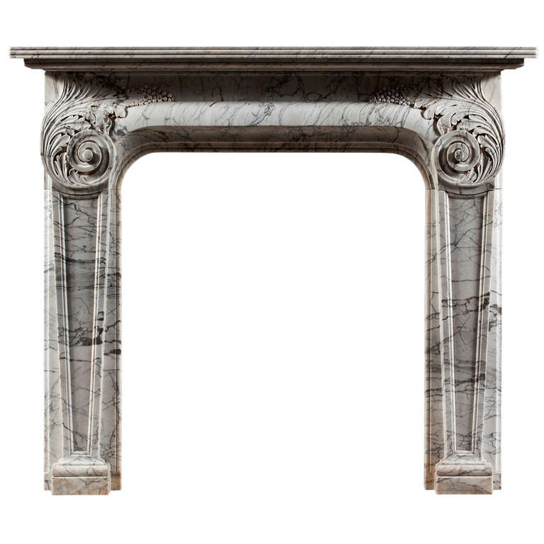 Unusual Antique 19th Century Italian Fireplace Mantel 1