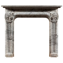 Antique 19th Century Italian Carrara Marble Fireplace Mantel