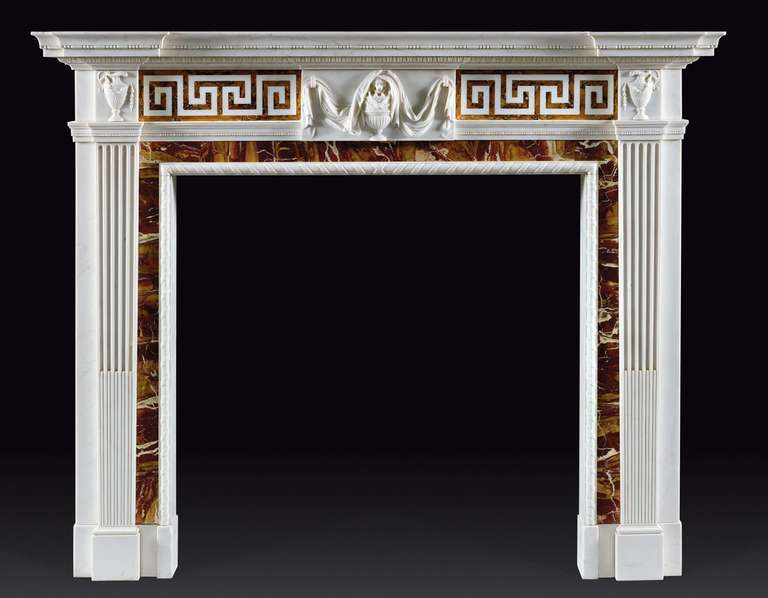 superb antique george iii style statuary marble fireplace mantel at 1stdibs. Black Bedroom Furniture Sets. Home Design Ideas