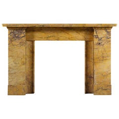 Antique Regency Style Fireplace Mantel in Carved Sienna Marble
