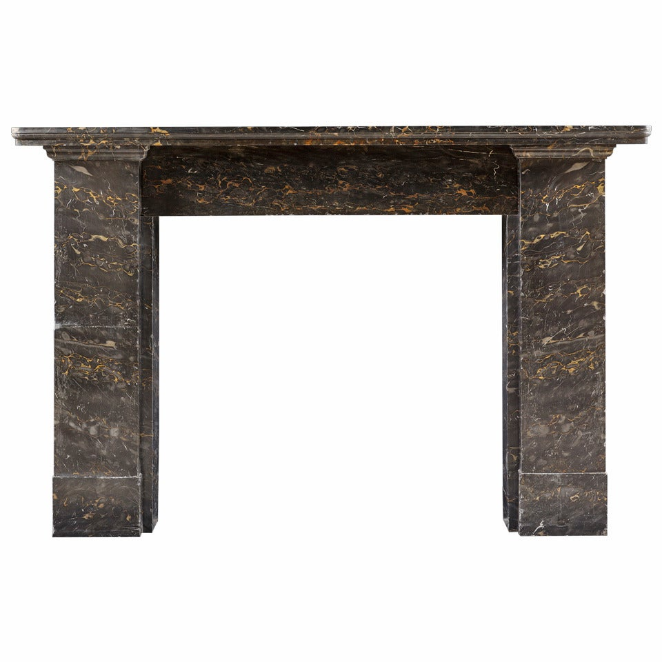 19th Century Fireplace Mantel in Solid Portoro Nero Marble For Sale