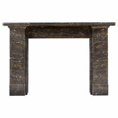 19th Century Fireplace Mantel in Solid Portoro Nero Marble