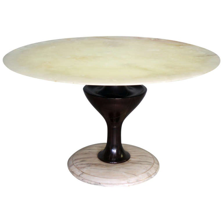 Alabaster Top Turned Wood Dining Table In the Style of Gio Ponti
