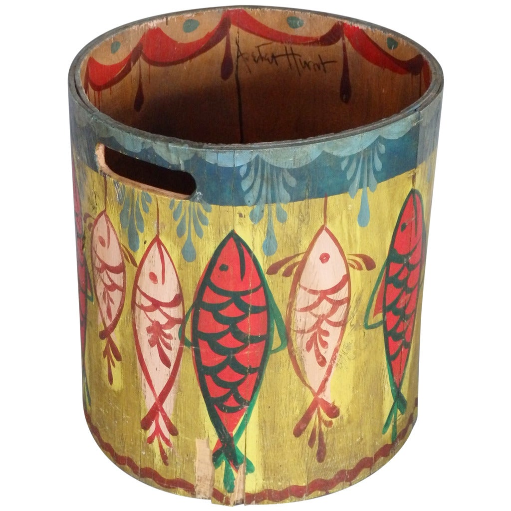 Rare Cape Cod Folk Painted Modernist Trash Can