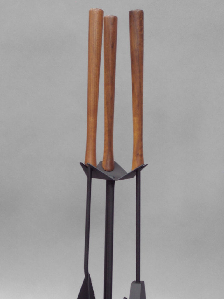 Mid Century Steel With Walnut Fireplace Tools At 1stdibs