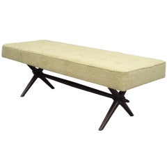Upholstered Walnut Frame Bench by Robsjohn-Gibbings