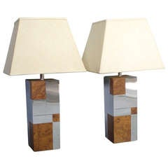 Pair of Cityscape Burl and Stainless Table Lamps by Paul Evans