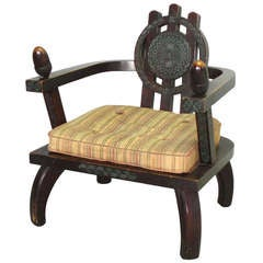 Carved and Stained Oak Lounge Chair by Ettore Zaccari