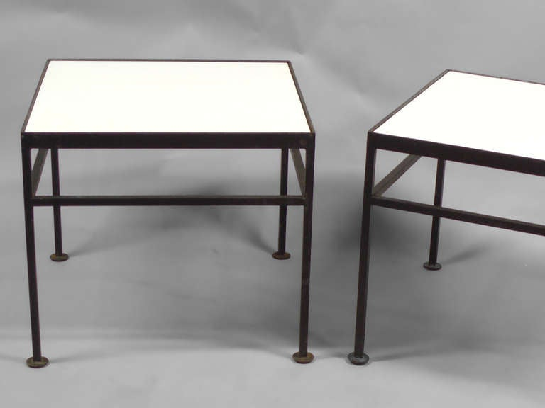 glass top wrought iron base side tables at 1stdibs. Black Bedroom Furniture Sets. Home Design Ideas