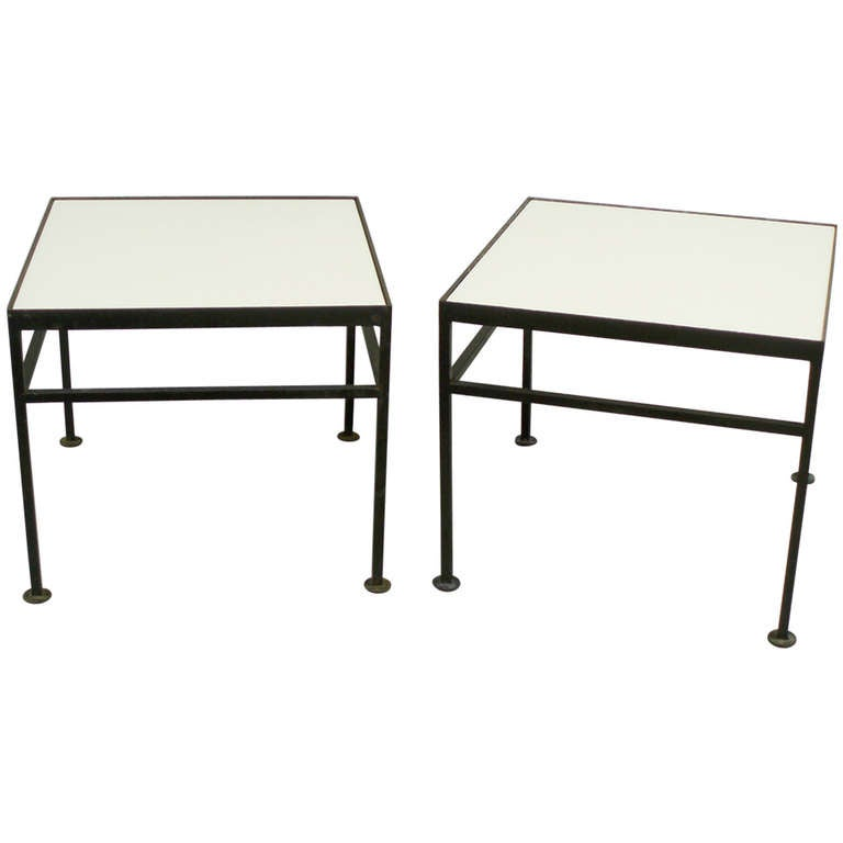 Glass top wrought iron base side tables at 1stdibs for Wrought iron side table base
