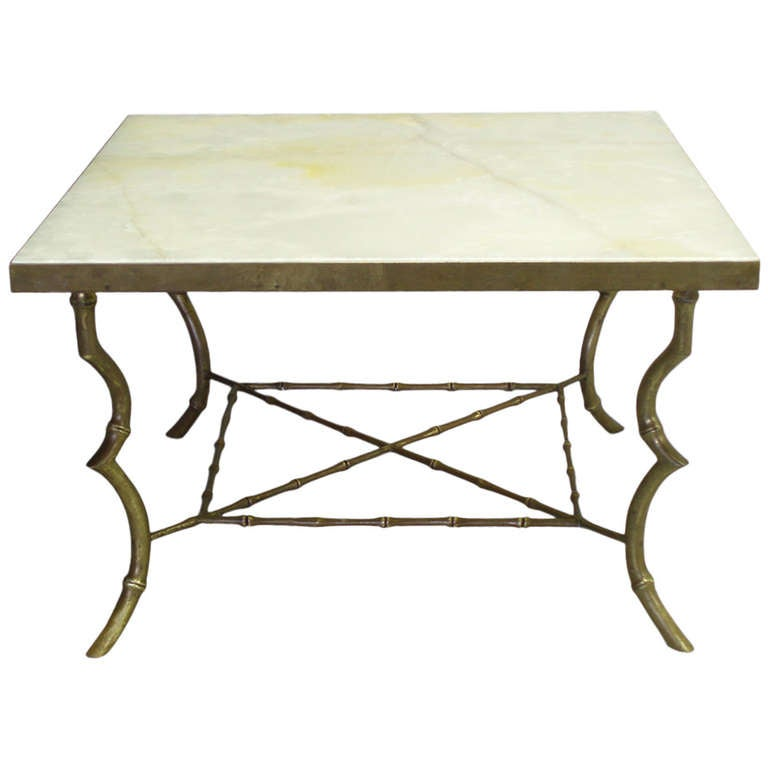 Brass Faux Bamboo Coffee Table: Faux Bamboo Brass Base Onyx Top Coffee Table By Maison