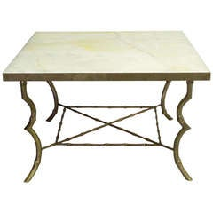 Faux Bamboo Brass Base Onyx Top Coffee Table by Maison Bagues
