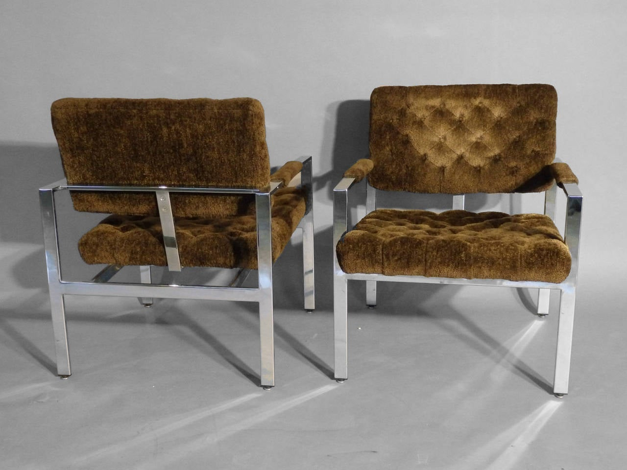 American Pair of Milo Baughman Chrome Frame Chairs For Sale
