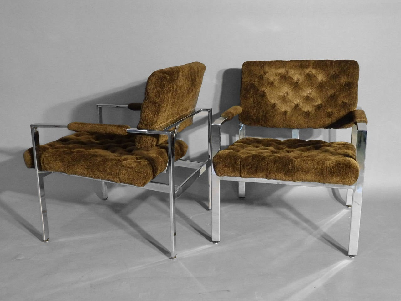 Pair of Milo Baughman Chrome Frame Chairs In Excellent Condition For Sale In Ferndale, MI