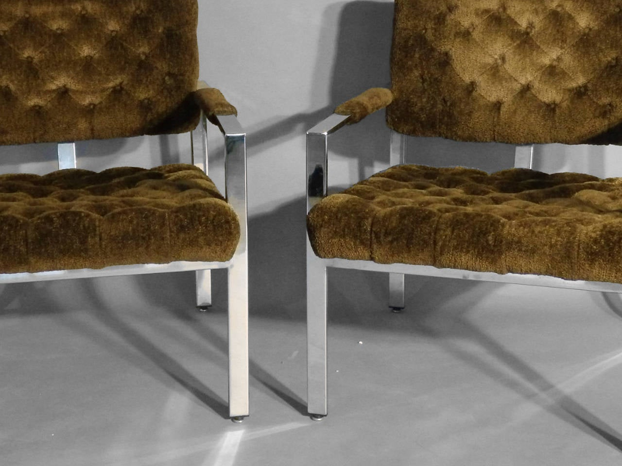 Late 20th Century Pair of Milo Baughman Chrome Frame Chairs For Sale