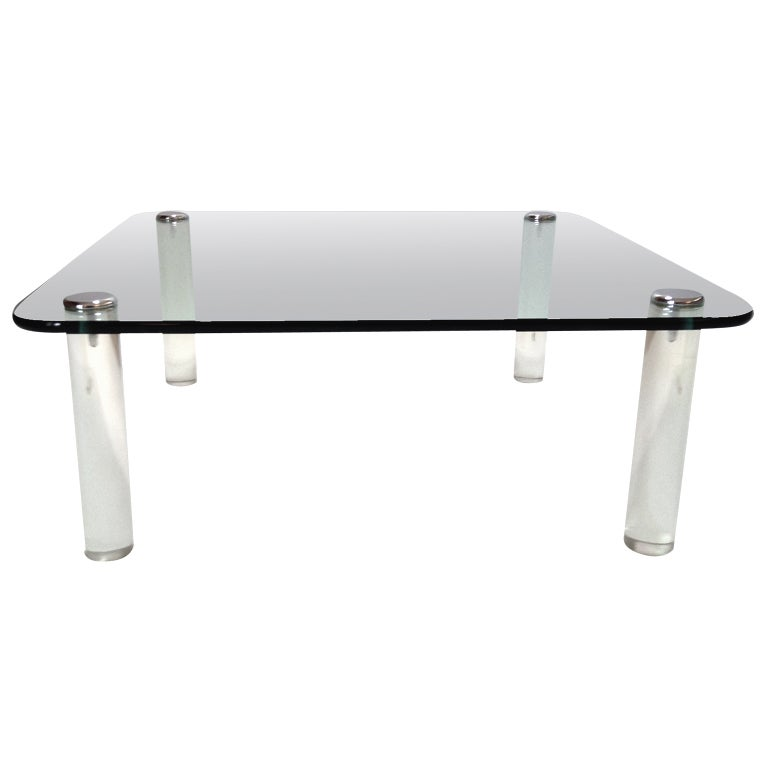 Thick Glass Top Lucite Leg Coffee Table By The Pace Company At 1stdibs
