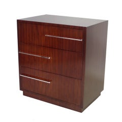 Walnut with Chrome Art Deco Moderne Cabinet Style of Donald Deskey