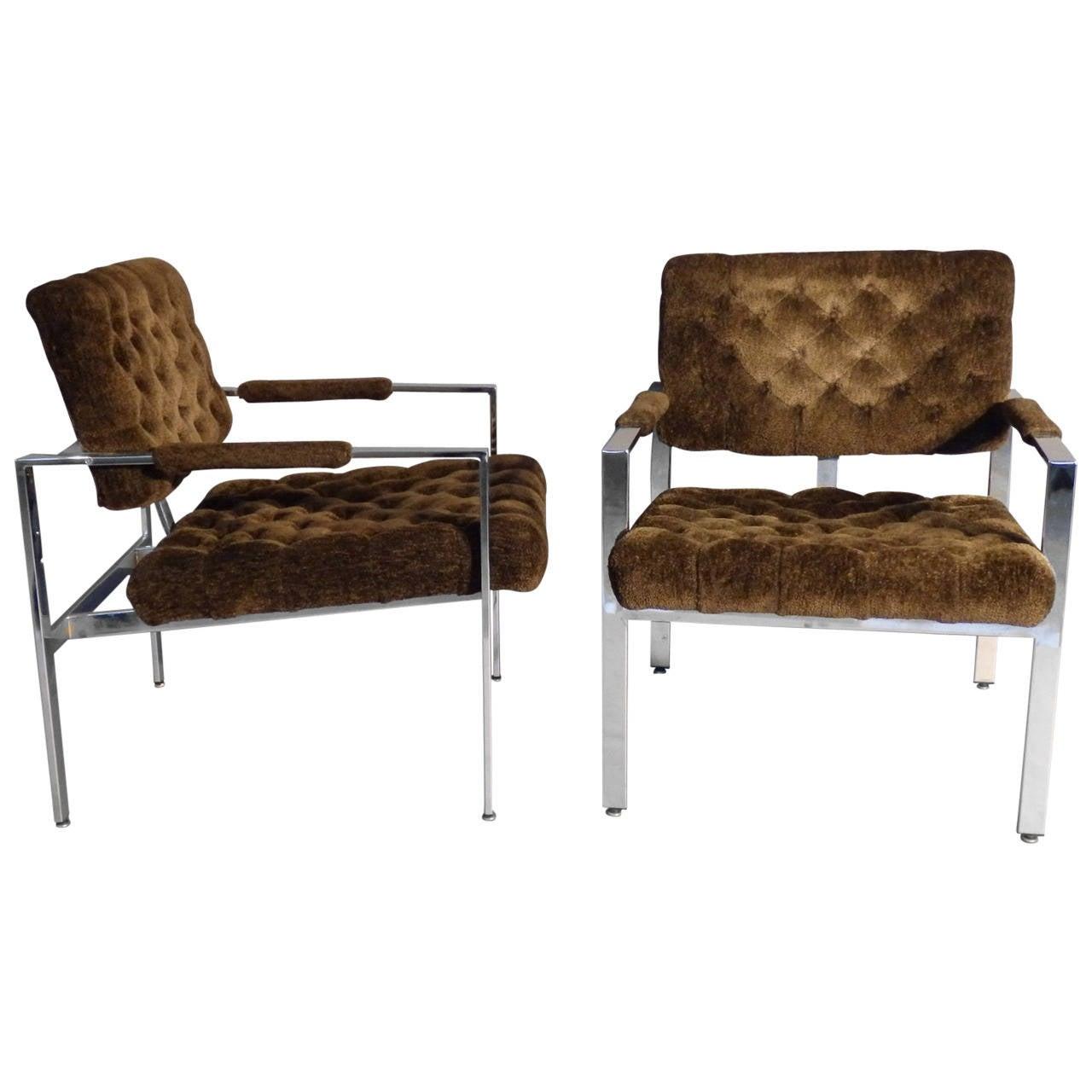 Pair of Milo Baughman Chrome Frame Chairs For Sale