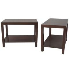 Pair of Rectilinear Walnut Parsons Tables by TH Robsjohn Gibbings