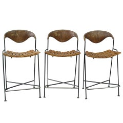 Wrought Iron Frame Bar Stools by Arthur Umanoff