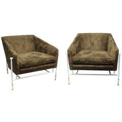 Pair of white steel frame with brass lounge chairs in the style of Gio Ponti