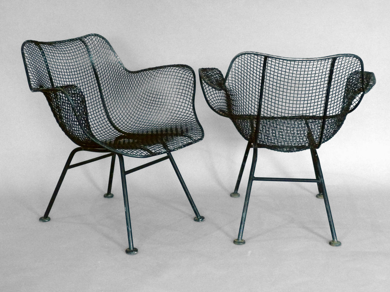 Wrought Iron Arm Chairs ~ Set of eight woodard steel mesh wrought iron arm chairs at