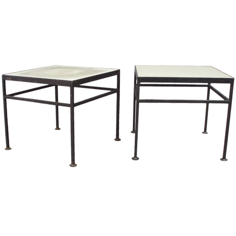 Pair Of Rectilinear Outdoor Wrought Iron Side Tables