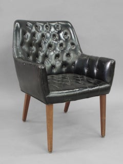 Pair of button Tufted Black Leather Occasional Chairs