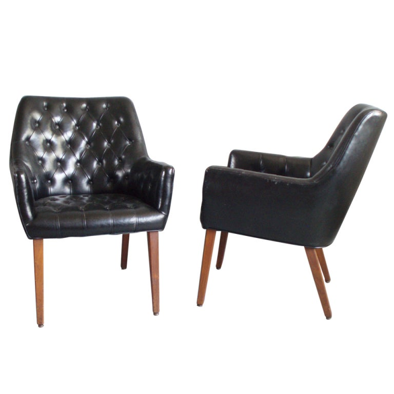 pair of diamond tufted black leather occasional chairs 1