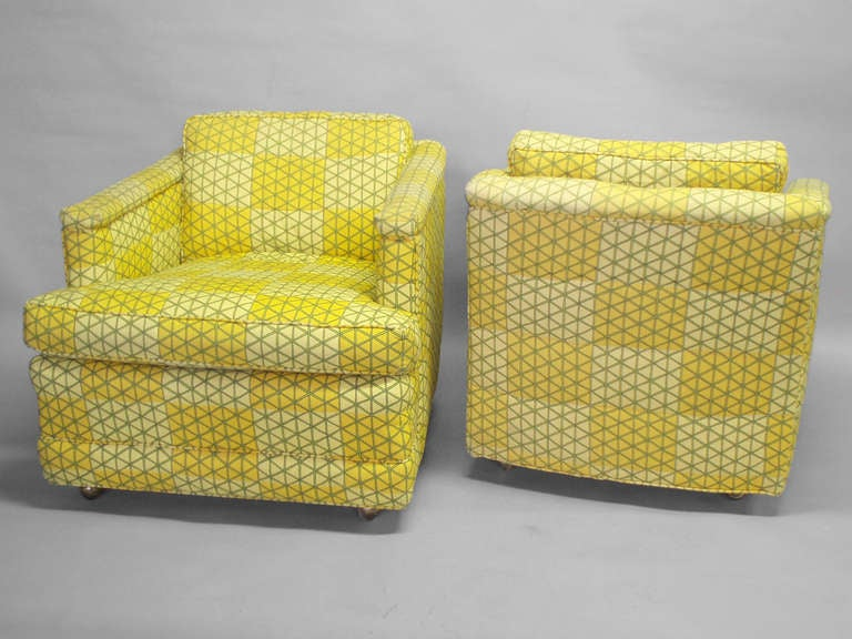 Pair Of Pull Away Lounge Chairs By Henredon Furniture For