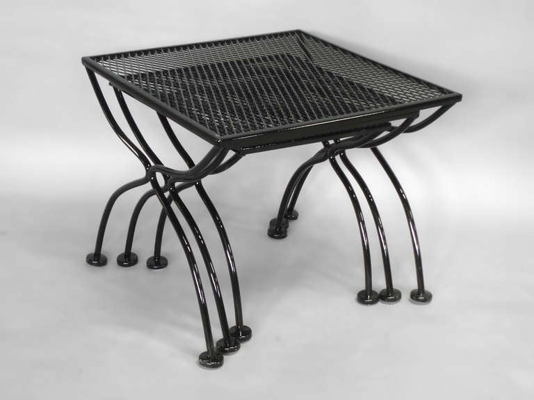 American Wrought Iron And Mesh Nest Of Outdoor Tables By Russell Lee  Woodard For Sale