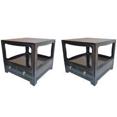 Pair of Michael Taylor for Baker Far East collection Lamp Tables