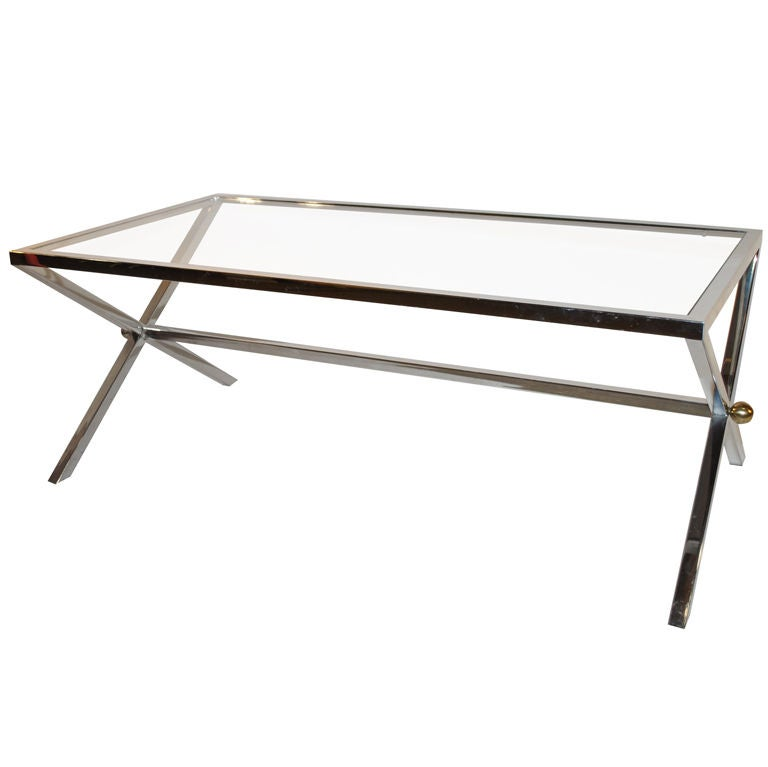 Chrome And Glass X Base Coffee Table At 1stdibs
