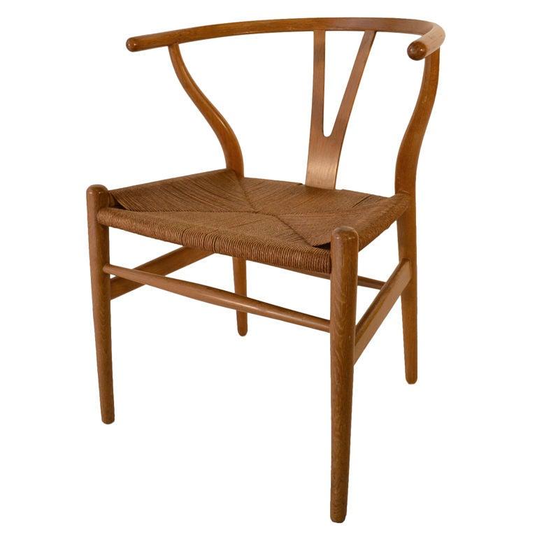 hans wegner oak wishbone y chair at 1stdibs. Black Bedroom Furniture Sets. Home Design Ideas