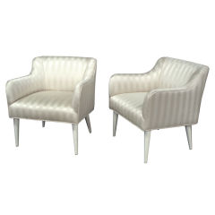 Pair of Striped Chairs with White Lacquer Legs