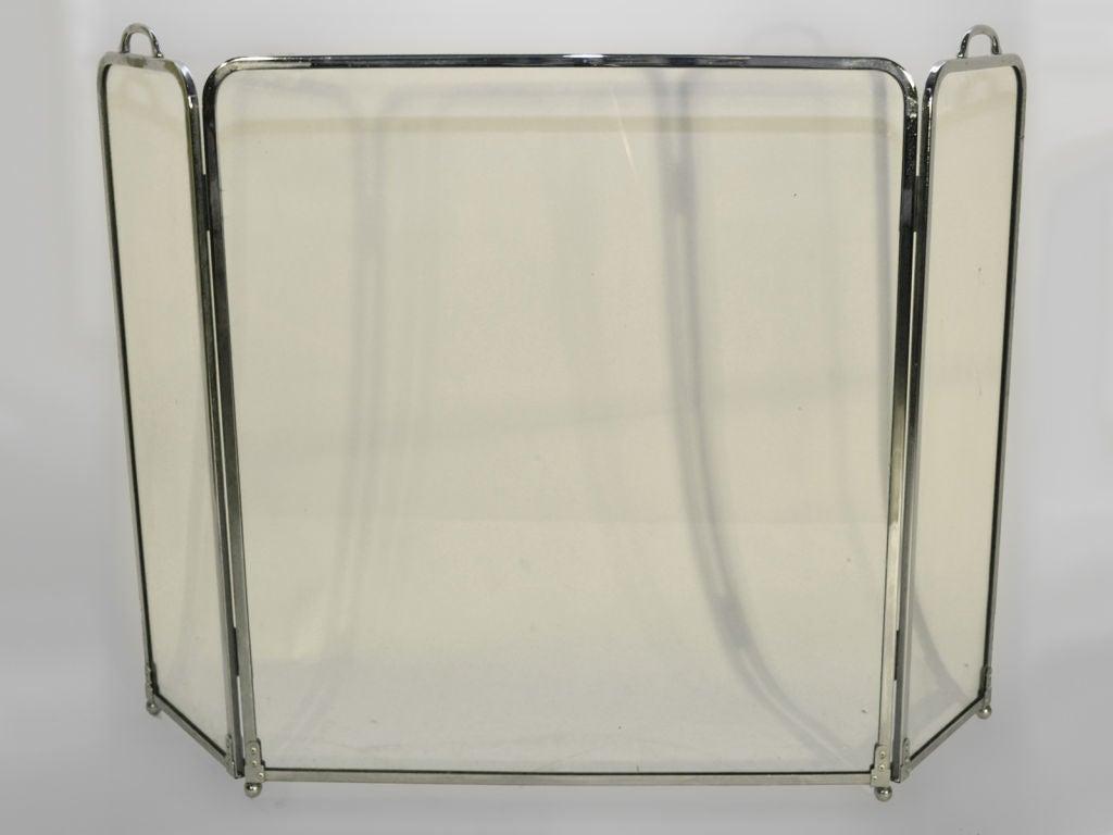 1970 39 s folding three panel glass fire screen spark guard image 2