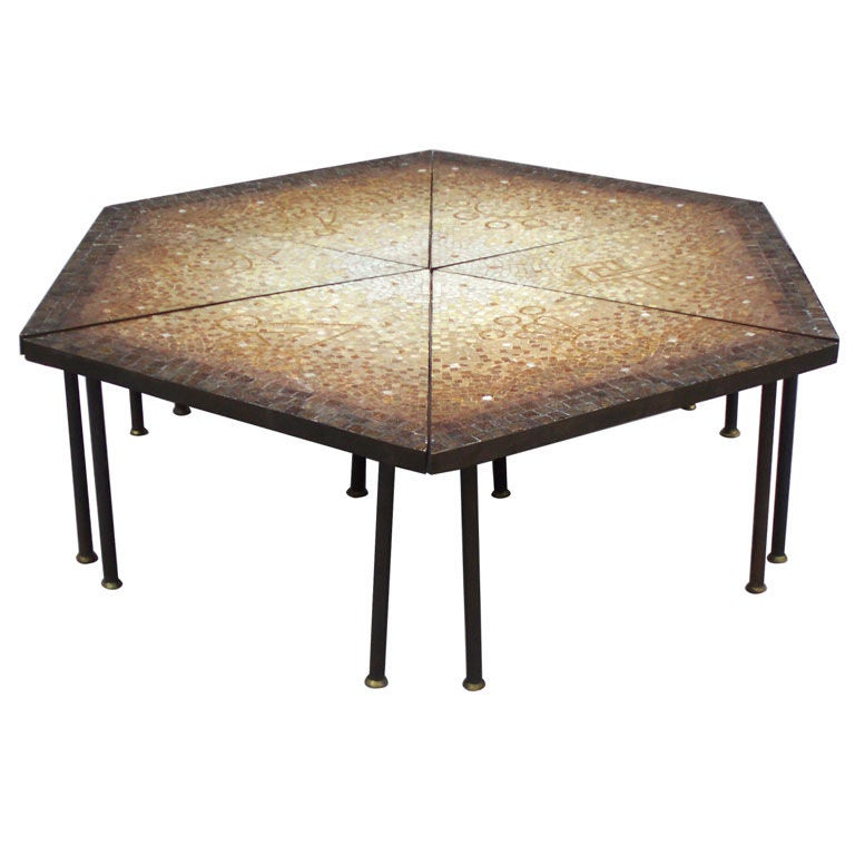 Six Brass Banded Glass Tile Triangle Cocktail Table At 1stdibs