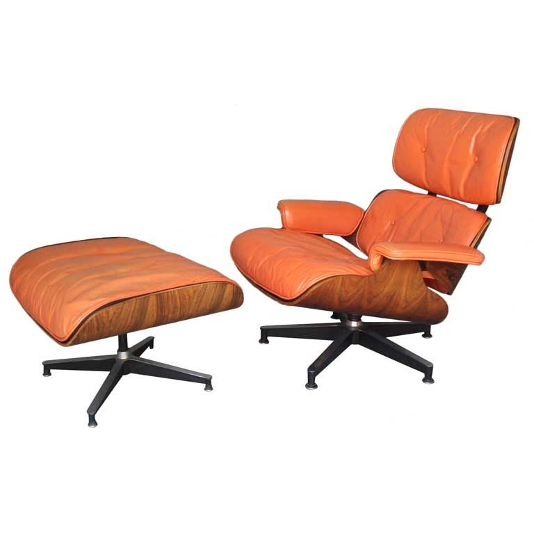The Best Salmon Leather Eames Lounge Chair with Ottoman at 1stdibs