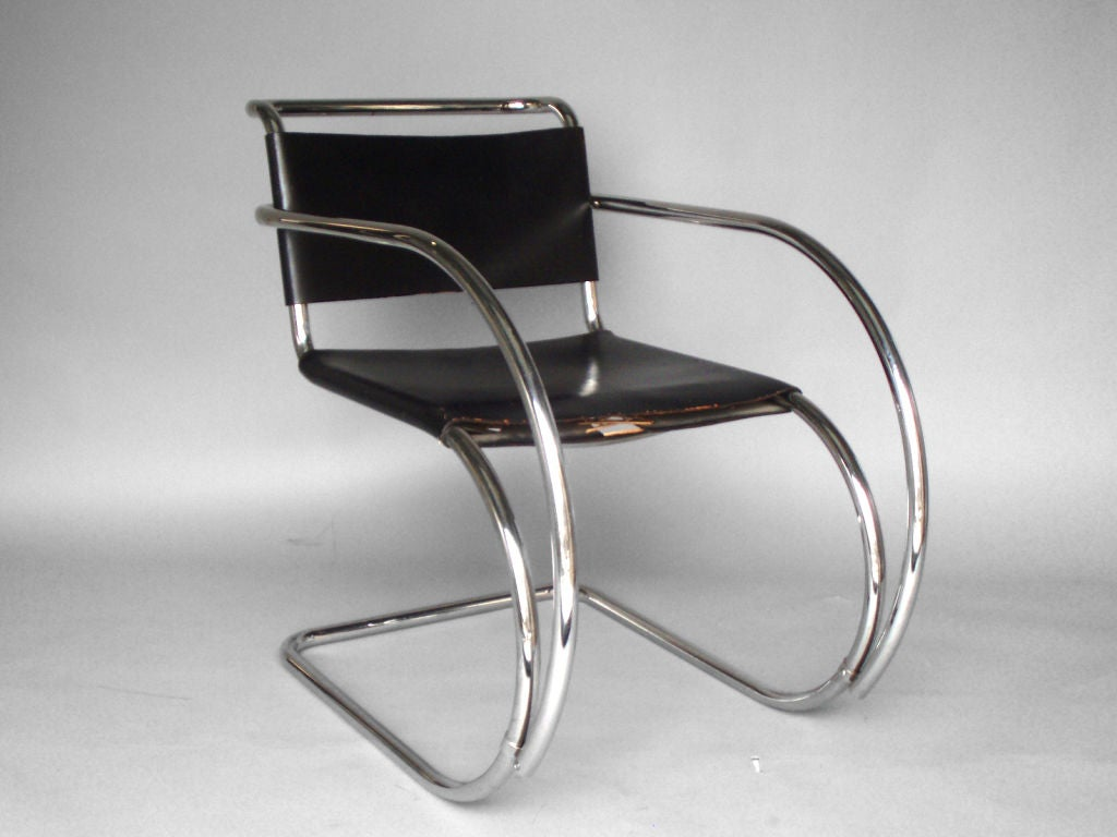 frame leather sling mr lounge chair mies van der rohe at 1stdibs