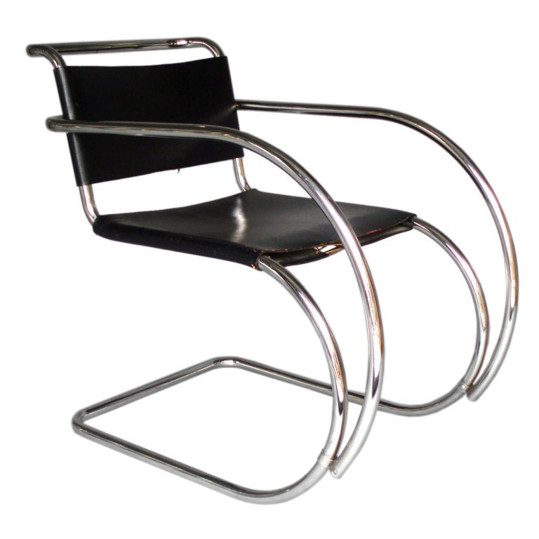 stainless frame leather sling mr lounge chair mies van der rohe at 1stdibs. Black Bedroom Furniture Sets. Home Design Ideas