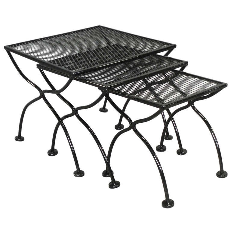Outdoor Nesting Tables ~ Wrought iron and mesh nest of outdoor tables by russell