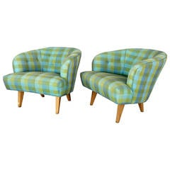 Pair of Modernist Barrel Back Club Lounge Chairs