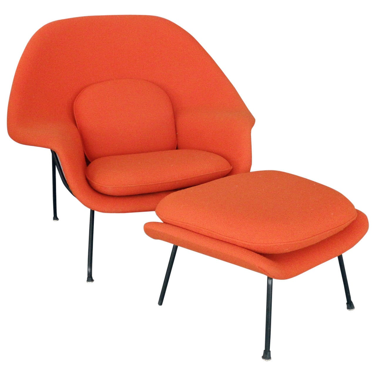 Saarinen For Knoll Womb Chair With Ottoman At 1stdibs