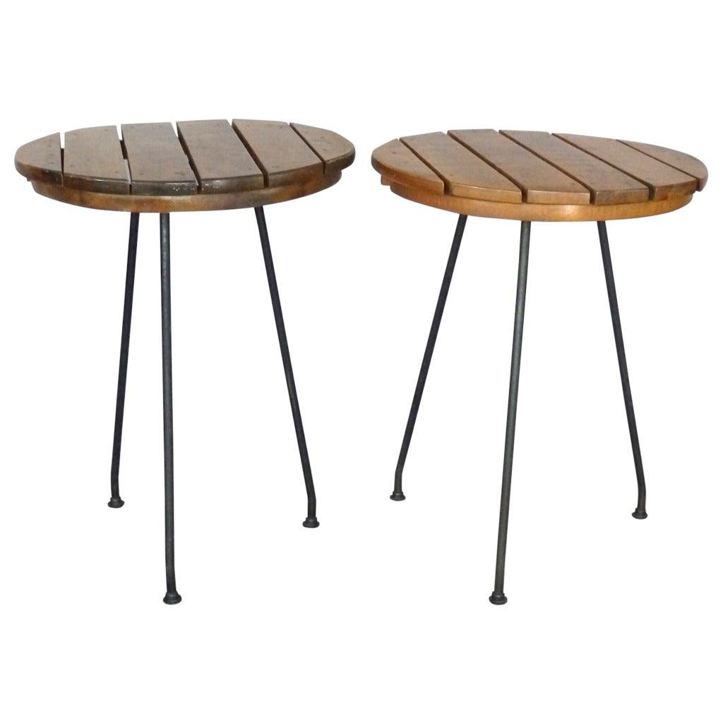 Wrought iron base arthur umanoff side tables at 1stdibs for Wrought iron side table