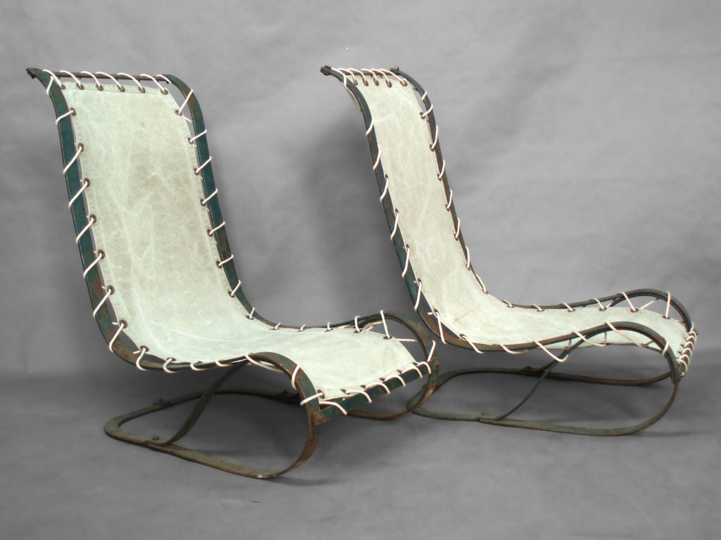 Pair of Cantilever Spring Steel Poolside Lounge Chairs. McKay Company Springer Base with Canvas Sling.
